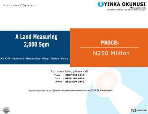 Land for sale At off Herbert Macaulay way,  Sabo Yaba Lagos