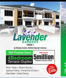 4 bedroom Terraced Duplex House for sale Novojo estate,  behind skymall Ajah Lagos