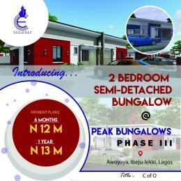 2 bedroom Semi Detached Bungalow for sale Peak Bungalows Phase 3, Just Behind The Popular Mayfair Garden Awoyaya Ajah Lagos