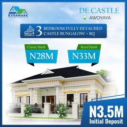 3 bedroom Detached Bungalow House for sale De Castle Newly Built 3 Bedroom Fully Detached Bungalows In Oribanwa Bustop, 2mins Drive From Mayfair Gardens Awoyaya Ajah Lagos