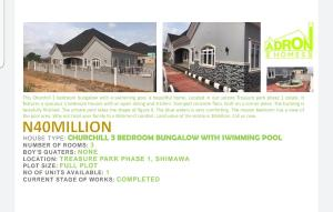 3 bedroom Detached Bungalow House for sale Behind Redemption camp Lagos Ibadan Express Way. Arepo Ogun