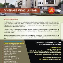 1 bedroom mini flat  Flat / Apartment for sale Tynedale Mews, Ajiran Between Pinnock Beach Estate at Osaka and Northern Foreshore Estate, Ajiran, Lekki, Lagos.  Agungi Lekki Lagos