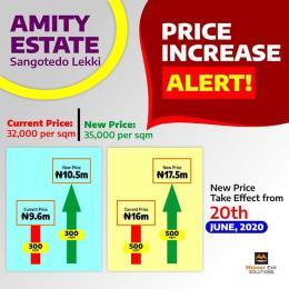 Residential Land Land for sale 3 minutes drive from Shoprite Sangotedo and off,Fidiso road. Sangotedo Ajah Lagos