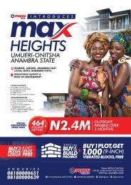 Commercial Land for sale Max Height Estate Umuleri Onitsha Anambra East Anambra