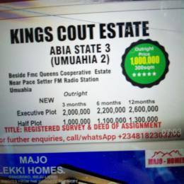 Land for sale Besides Fmc Queens cooperative Estate Umuahia South Abia