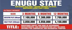 Mixed   Use Land Land for sale Elite luxury villa phase 1 adjacent centenary life estate, independent layout phase 2 enugu  Ezeagu Enugu