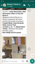 3 bedroom Flat / Apartment for rent Alhaji salami  Aguda Surulere Lagos