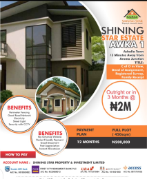 Residential Land Land for sale SHINING STAR ESTATE AWKA 1. 13MIN DRIVE FROM AROMA JUNCTION.  Awka North Anambra