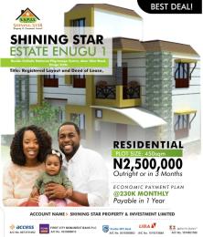 Residential Land for sale Shining Star Estate Enugu 1. Beside Catholic National Pilgrimage Centre, Akor Nike Road, Enugu State. Enugu Enugu