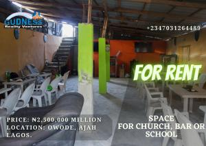 Church Commercial Property for rent Owode, Opposite Ado Langbasa Primary Health Centre Off Lekki-Epe Expressway Ajah Lagos