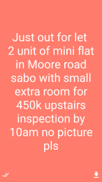 1 bedroom mini flat  Mini flat Flat / Apartment for rent Moore road  Sabo Yaba Lagos