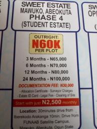 Land for sale Mawuko Phase 4 Mawuko Abeokuta Ogun