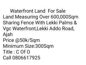 Mixed   Use Land for sale Sharing Border With Vgc Waterfront Lekki Palms Addo Ajah VGC Lekki Lagos